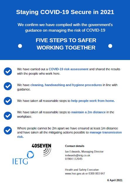 40Seven's Coronavirus (COVID-19) General Risk Assessment