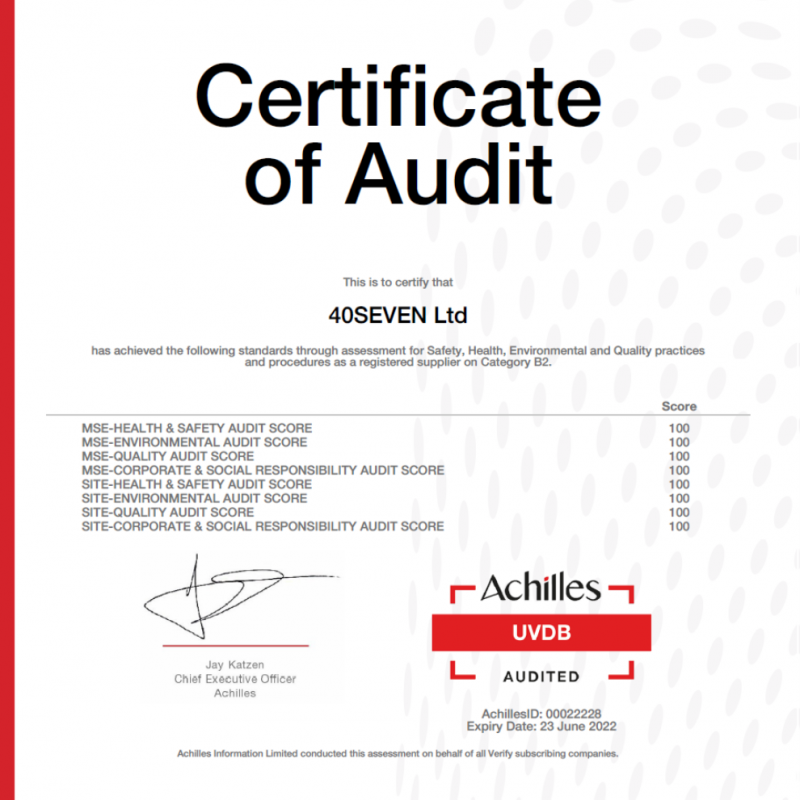 Achilles UVDB – 40SEVEN Scores 100%